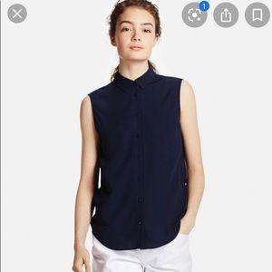 Uniqlo Black Sleeveless Button Down Blouse